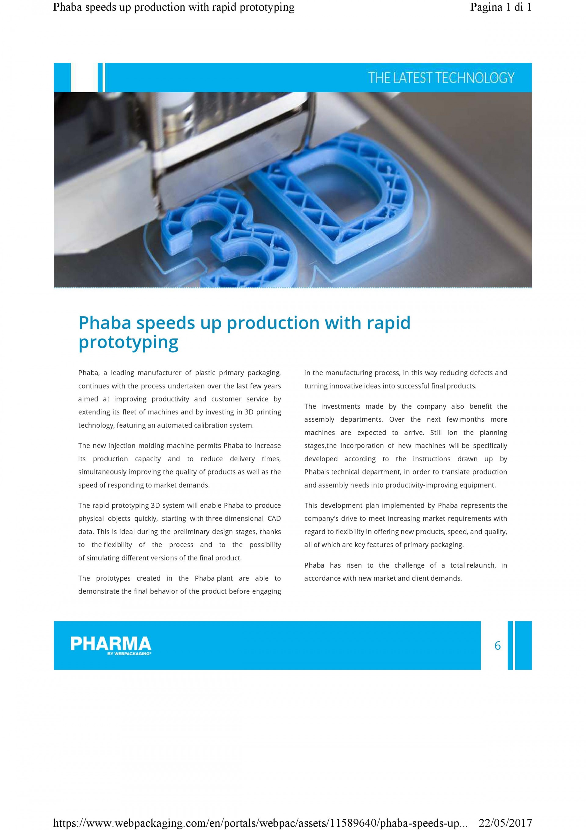 "Phaba on the magazine ""Pharma"" by  Webpackaging"