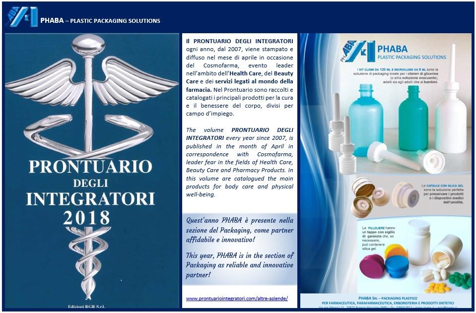"""Phaba on the handbook """"Prontuario degli Integratori"""" 2018"""