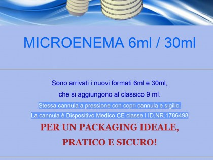 Nuovi formati 6 e 30 ml nella linea Microclismi